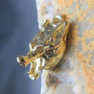 Golden Wolf Charm  Artisan Cast Canine Raw Brass